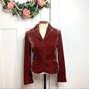 Worth Pink Red Velvet Bead Embellished Blazer